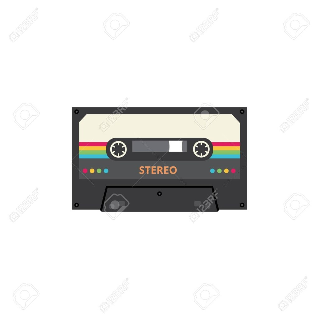 stereo cassette tape with colorful retro stripes vintage 80s