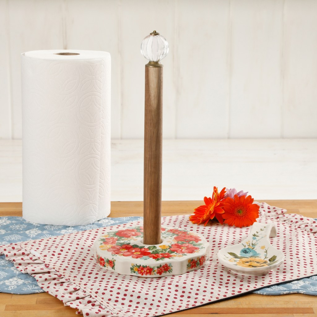 the pioneer woman vintage floral paper towel holder with rose shadow spoon rest set walmart