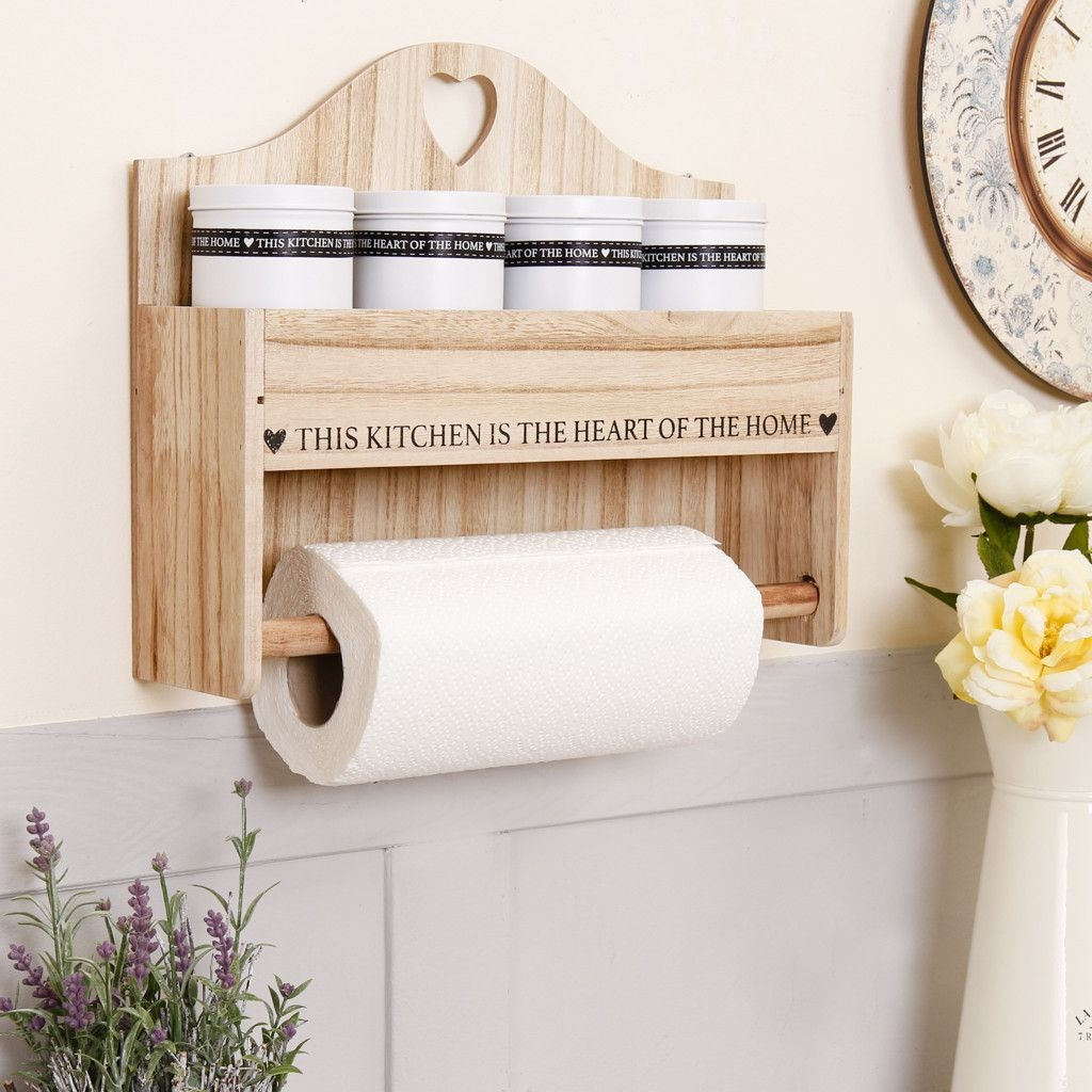 this stylish wall mounted kitchen roll holder is made from