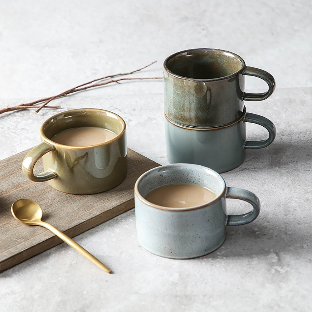vintage coffee mug unique japanese retro style ceramic cups 150ml kiln change clay breakfast cup creative gift for friends