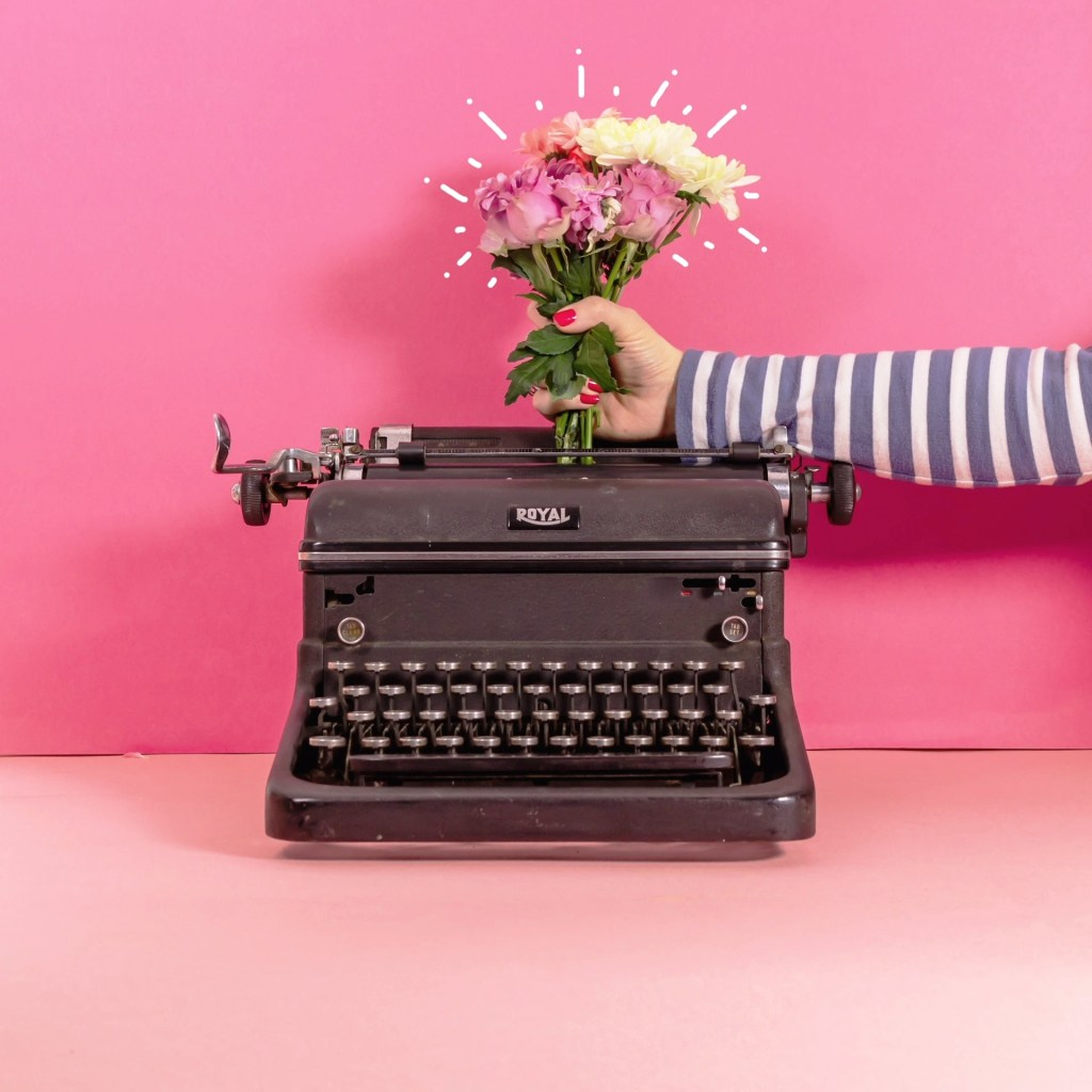 vintage typewriter with fresh flowers stop motion animation