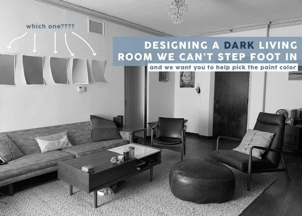 virtually designing a friends dark living room from my