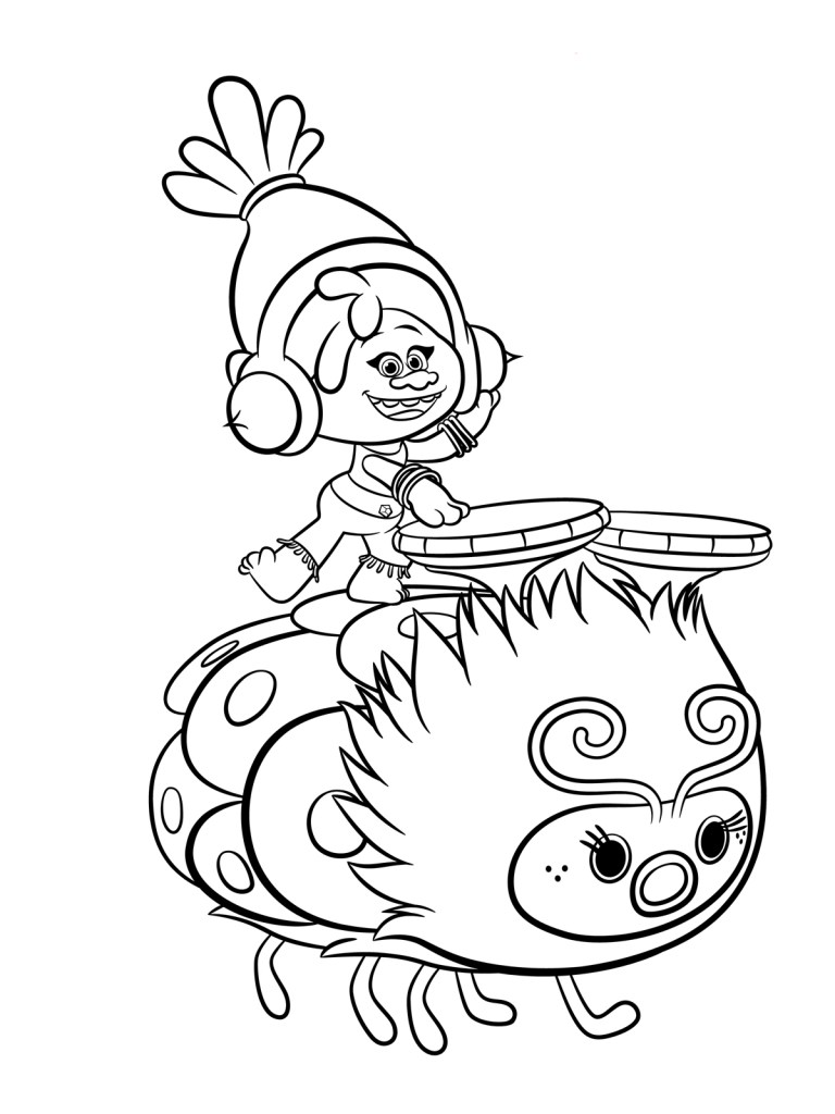 branch trolls coloring page