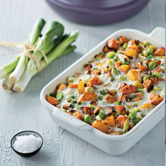 Image of Creamy Butternut and Leek Bake in Le Creuset cookware