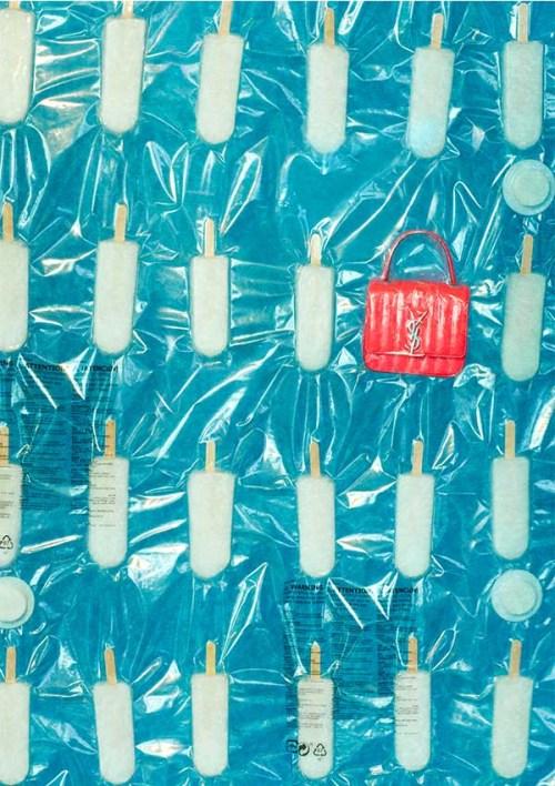 SAINT LAURENT 小型VICKY螢光粉鍊帶包