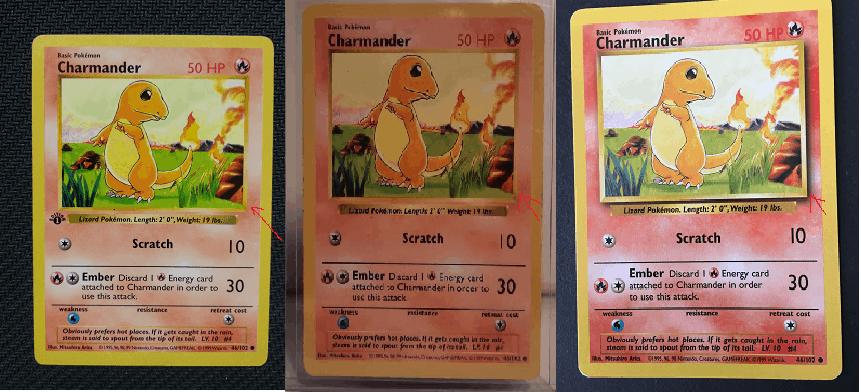Comparaisons de trois cartes. Première édition, shadowless et unlimited.