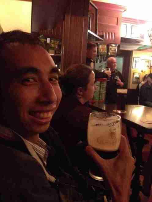 Drinking Guinness