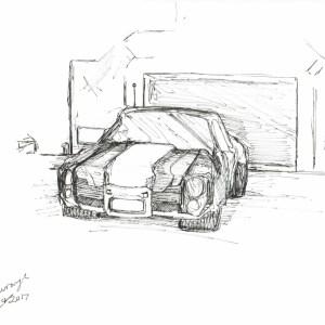 Stylish Car Ink Drawing