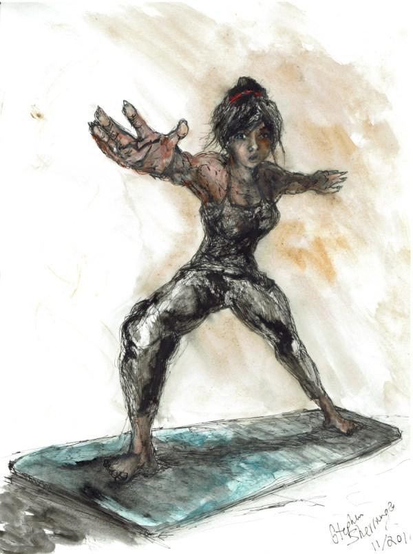 Warrior pose art by Stephen Sherrange