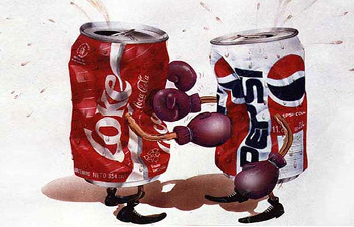 Coca Cola can and Pepsi can battling cartoon