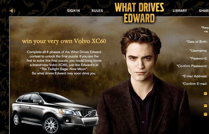 Edward from the Twilight movie on a Volvo website for a marketing campaign to win a Volvo car