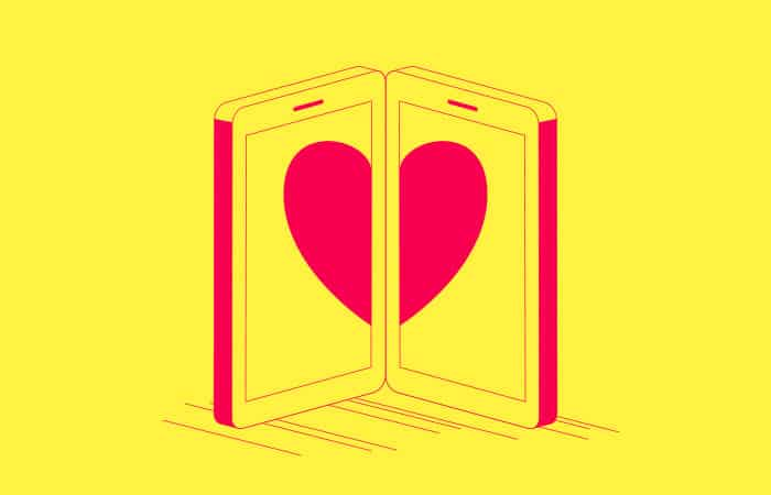 two phones with heart illustration