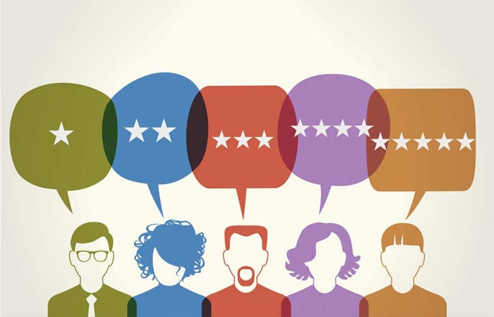illustration of people providing different star reviews