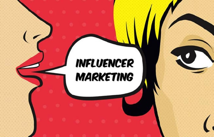 illustration of person telling other person influencer marketing