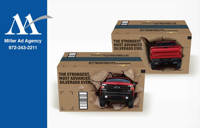 Chevy Silverados busting out of Amazon boxes