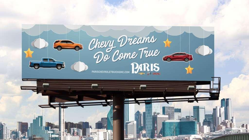 The Paris Chevrolet dreams do come true billboard
