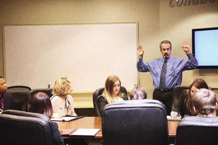 Jimmy training students at Miller Ad Agency