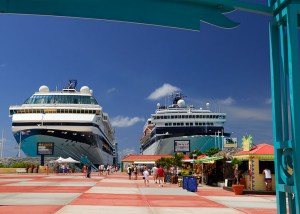 Cruise ships docked at St. Maarten Cruise Port Facility