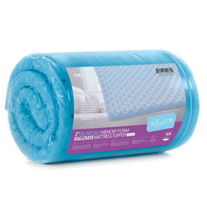 Egg Crate Gel Infused Memory Foam Mattress Topper Queen
