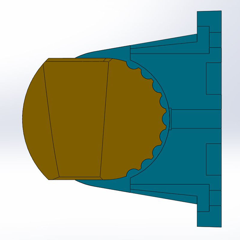 shower head holder right sectional view
