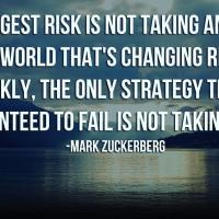 The biggest risk is not taking any risk... In a world that changing really quickly, the only strategy that is guaranteed to fail is not taking risks. - Mark Zuckerberg