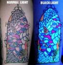 These UV tattoos can only be seen in blacklights... Pretty Cool