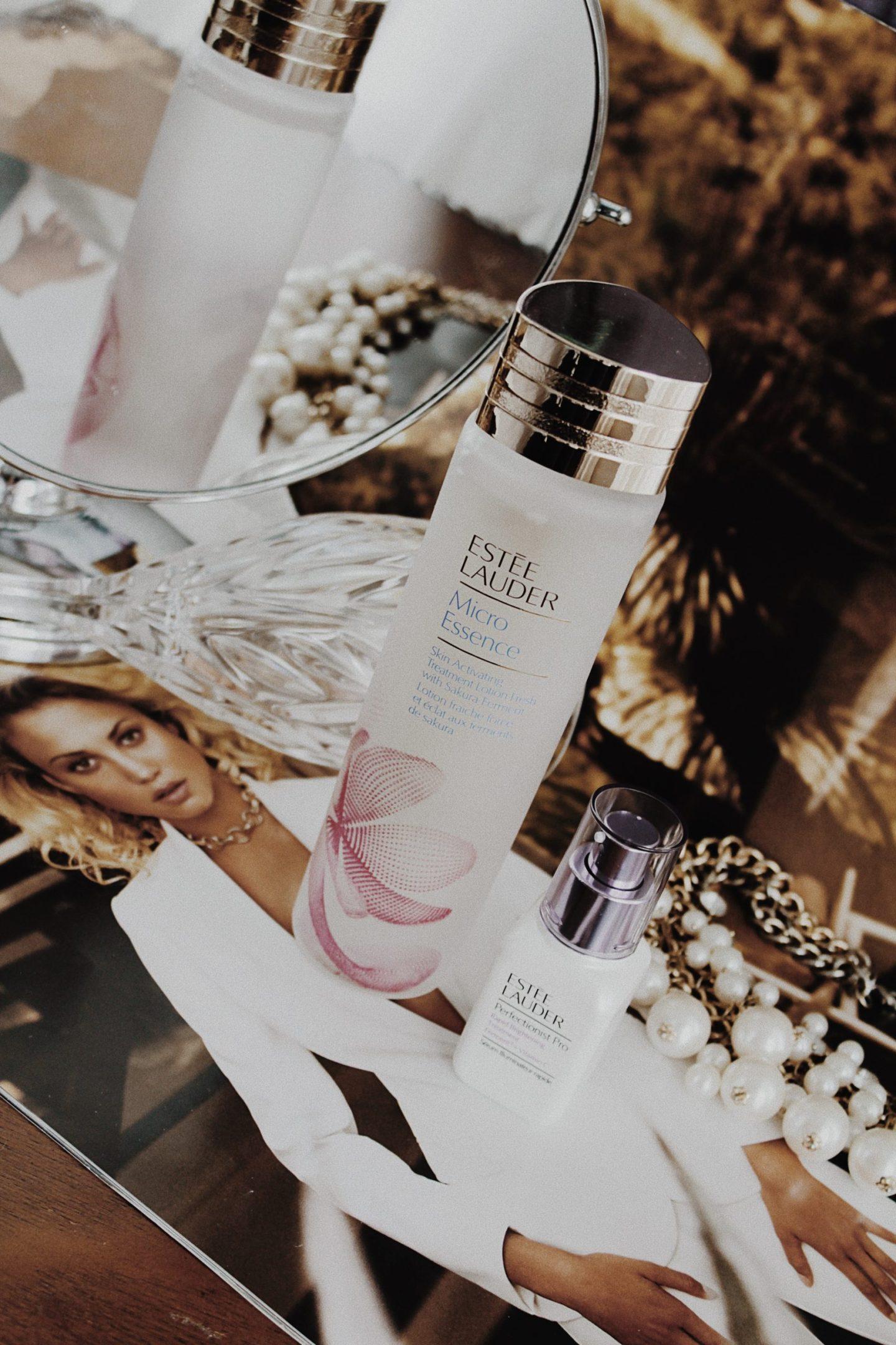 Estee Lauder Perfectionist Pro Rapid Brightening Treatment & Micro Essence Skin Activating Treatment Lotion Fresh with Sakura Ferment