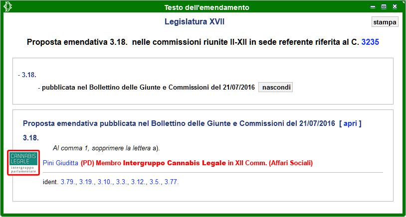 Intergruppo Cannabis Legale: Emendamento 3.18 alla Propoposta di Legge sulla Legalizzazione