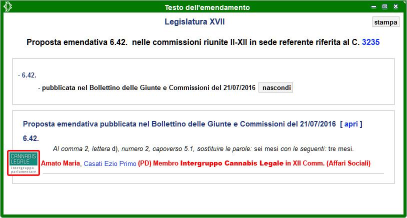 Intergruppo Cannabis Legale: Emendamento 6.42 alla Propoposta di Legge sulla Legalizzazione