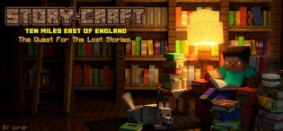 """Minecraft Library with """"Steve"""" reading, and a wolf curled up at his feet."""