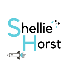Text Shellie Horst with Science Fiction Elements Rocket Ship & Stars