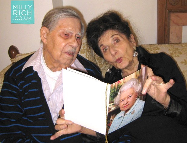 Milly & Moss with a card from the Queen for 70th Wedding Anniversary, 2009