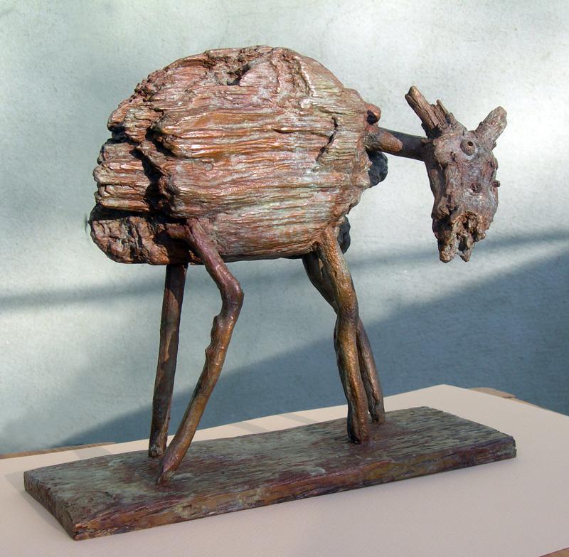 Bronze. Sculpture semi-figurative. Souffrance animale