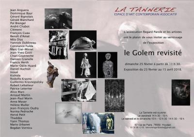 """carton d'invitation de la Tannerie, pour l'exposition """"le Golem revisité"""". Art contemporain."""