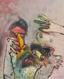 peinture d'Art singulier réalisée par Stani Nitkowski en 1986.