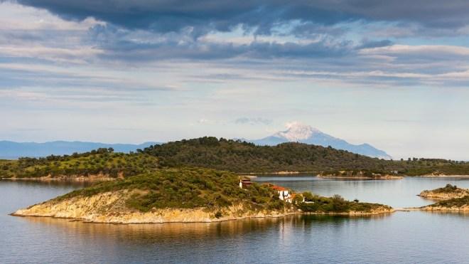Sithonia Landscape view to Athos mountain