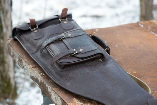 Leather case for rifle outdoors during hunting