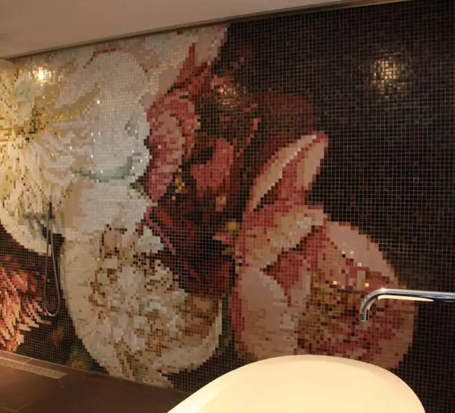 Flowers glass mosaic brown gold pink bloemen glasmozaïek bruin goud roze