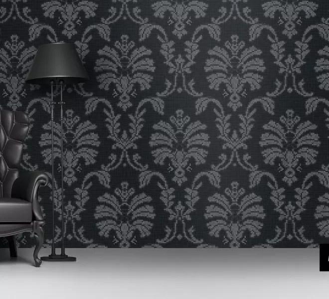 glasmozaiek patronen Baroque van Milovito zwart grijs