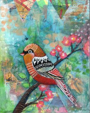 spring bird mixed media piece