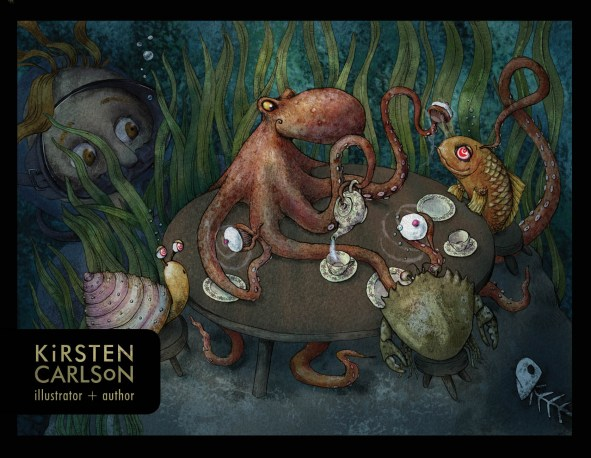 Watercolor and digital postcard of a children's book darktale of the octopus's garden