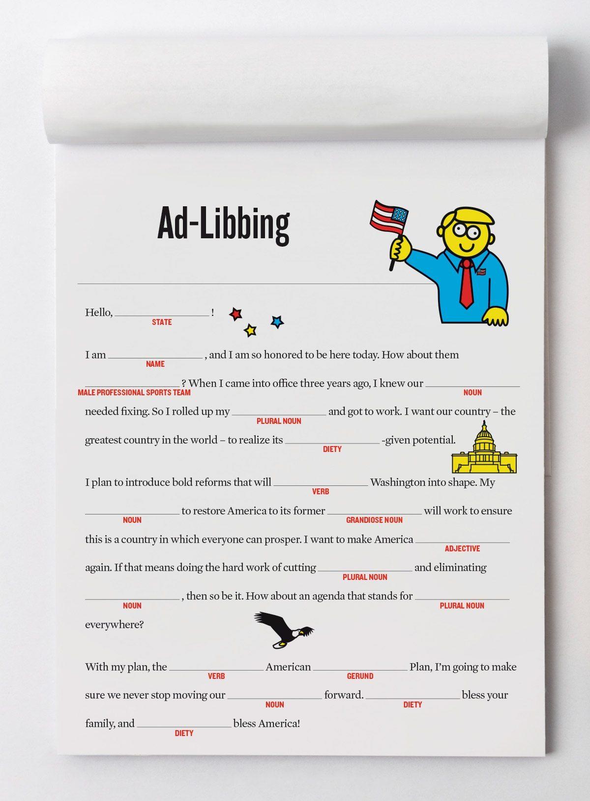 Ad Libbing Our Campaign Stump Speech Mad Lib
