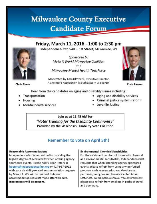 Milwaukee County Executive Candidate Forum flyer