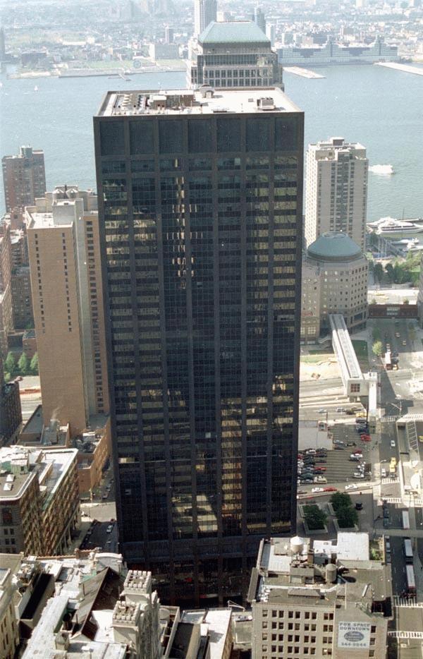 Severely damaged Deutsche Bank Building after 9/11
