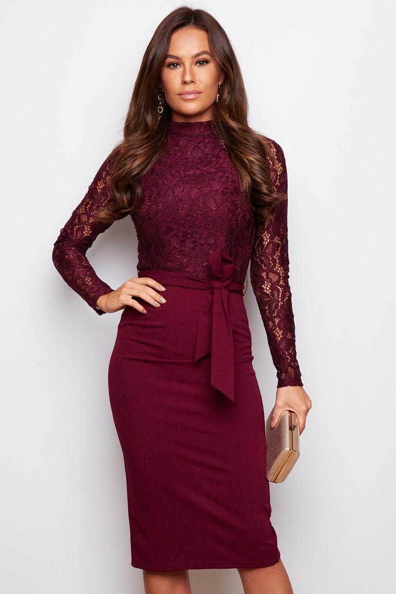 Hi Neck Long Sleeves Midi Dress Wine