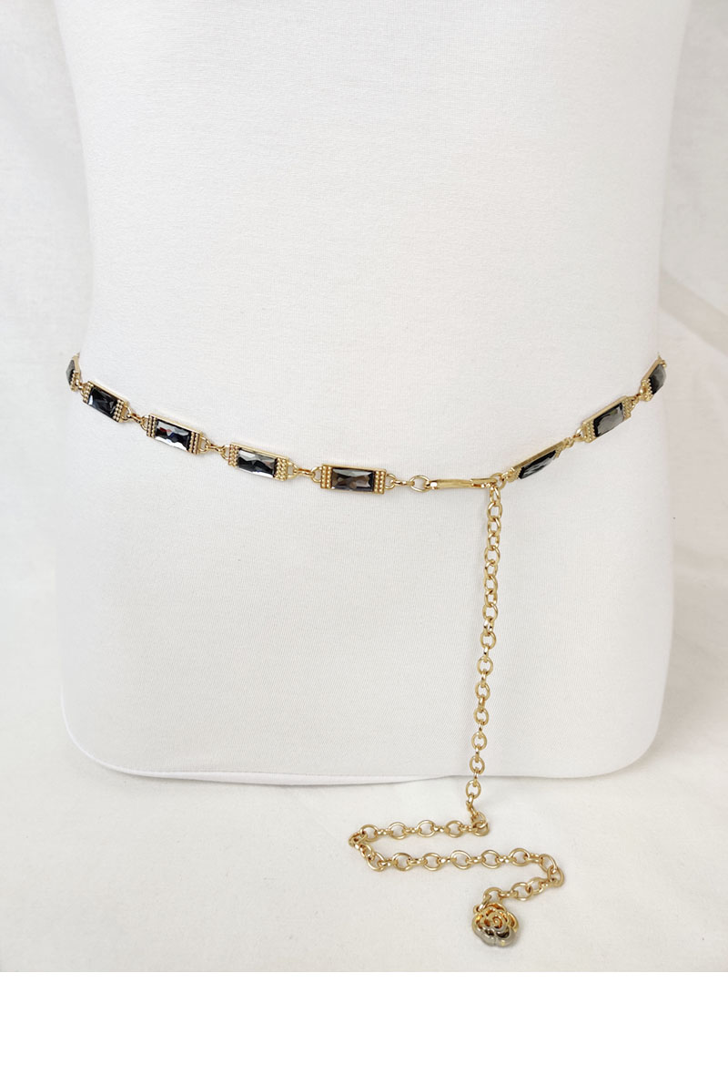 Gold Chain with rectangular Rhinestones