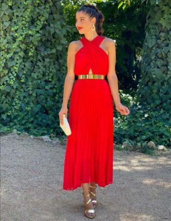 Carole Midaxi Crossover Neckline RED