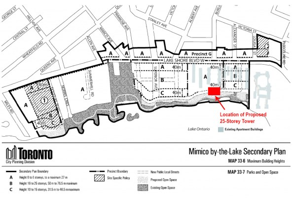 Shoreline Towers Application with Secondary Plan map and surrounding buildings