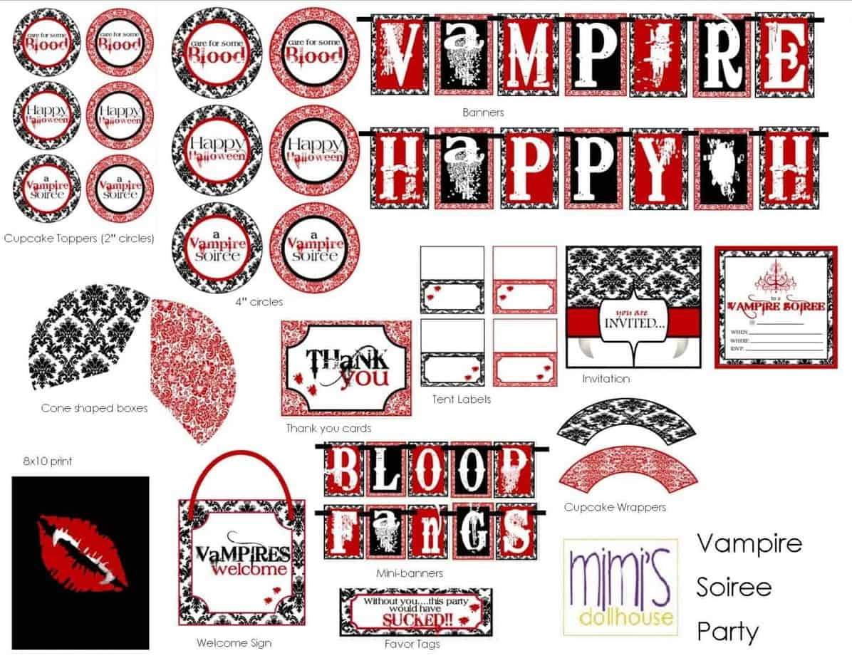 Vampire Halloween Party Printable Collection