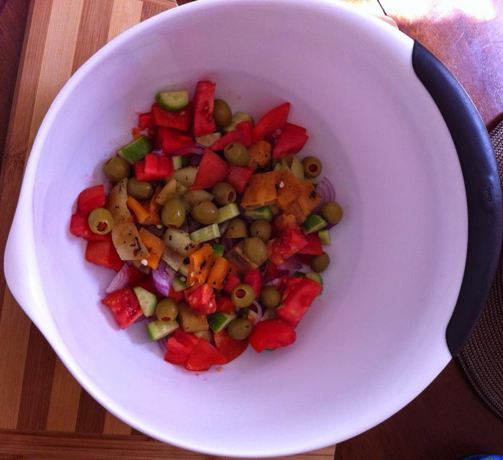 Tomato Cucumber Roasted Pepper Salad Prep